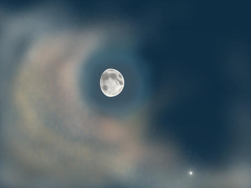 The Moon and Jupiter at Dusk