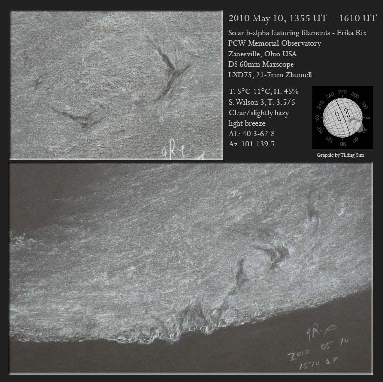 H-Alpha Sun and Filaments – May 10, 2010