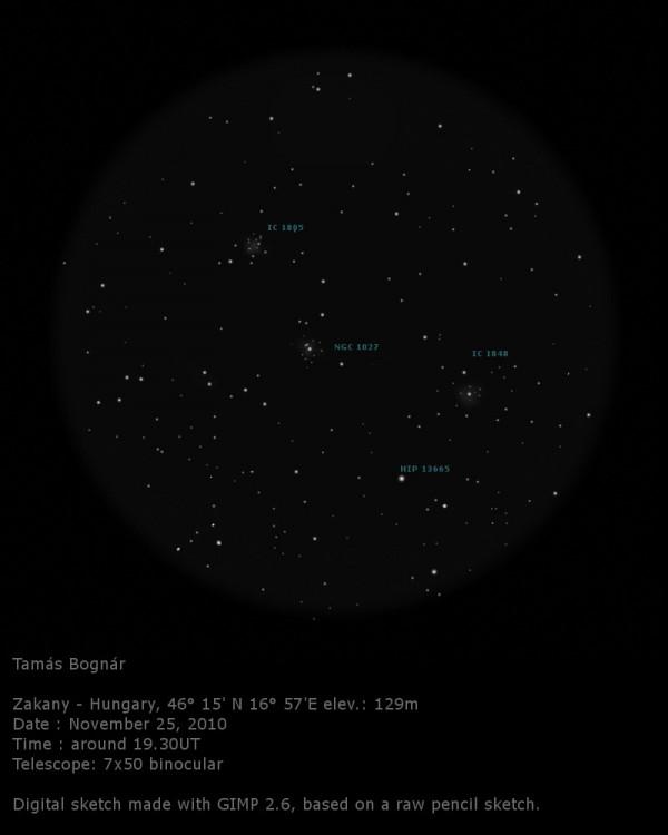 VCSE - Mai kép - NGC 1027 és IC 1805 - Bognár Tamás