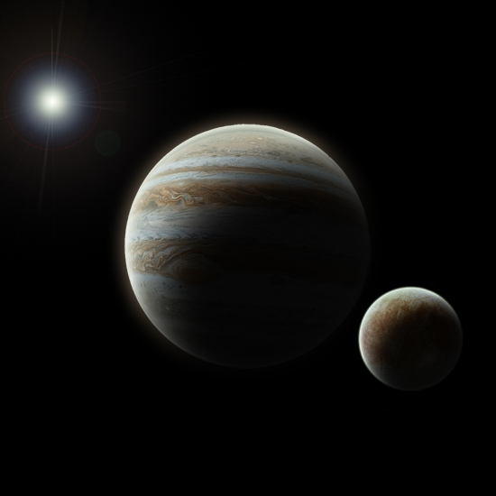 Digital Impression of Jupiter and Europa