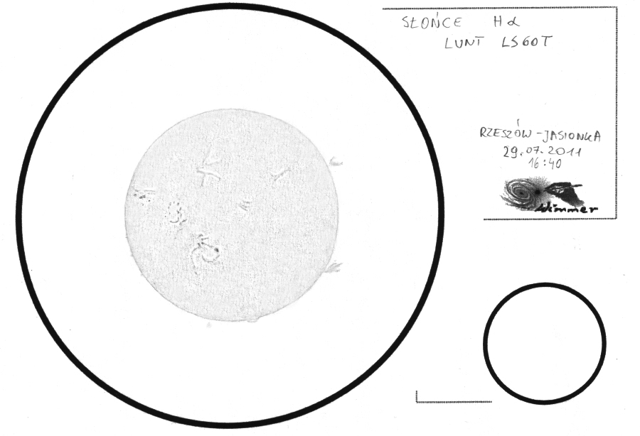 Sun in H-Alpha - July 29, 2011 - Original Drawing