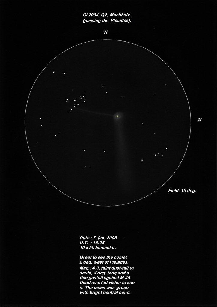 Comet C/2004 Q2 (Machholz) and the Pleiades