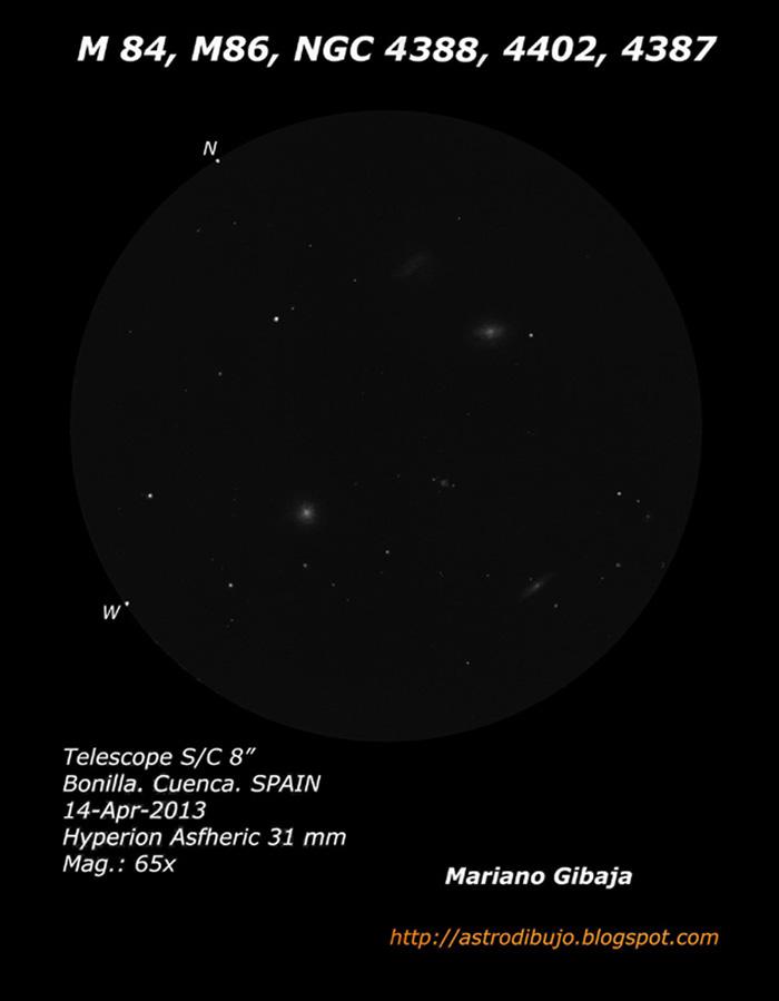 M 84, M 86, NGC 4388, NGC 4402, NGC 4387