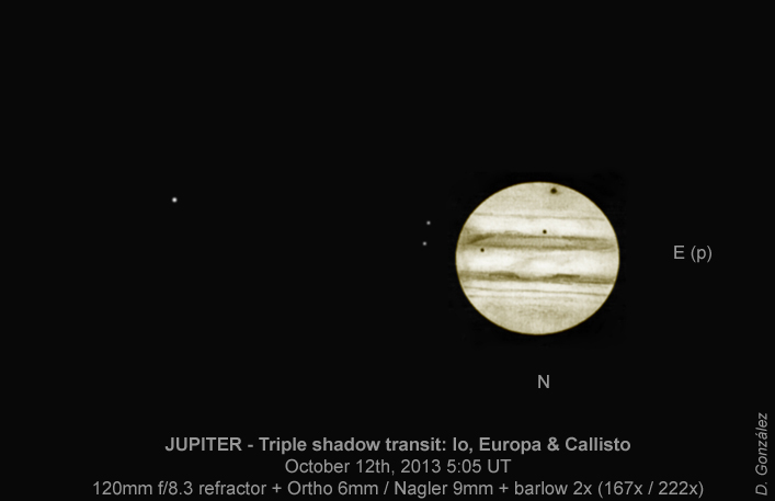 Jupiter - Triple Shadow Transit - October 12, 2013