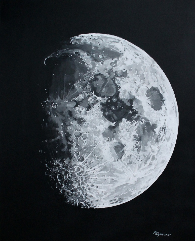 Moon in Acrylic and Ink