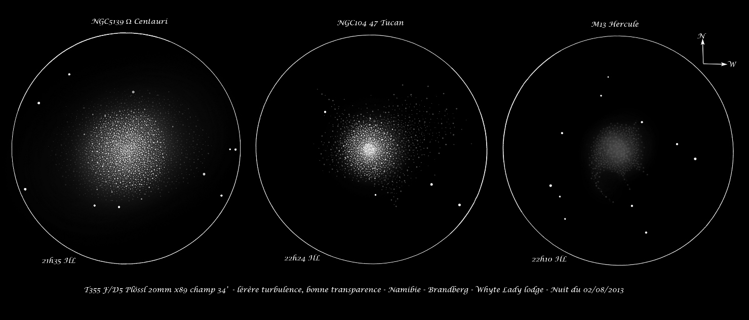 NGC5139, NGC104 and Messier 13