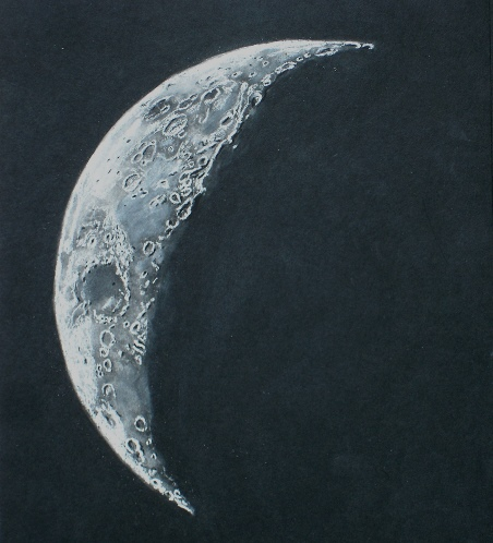 Four Day Old Waning Lunar Crescent – Astronomy Sketch of ...