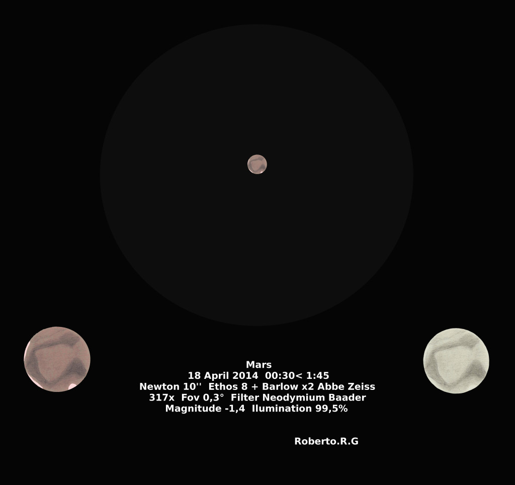 Mars in the constellation Virgo - April 18, 2014