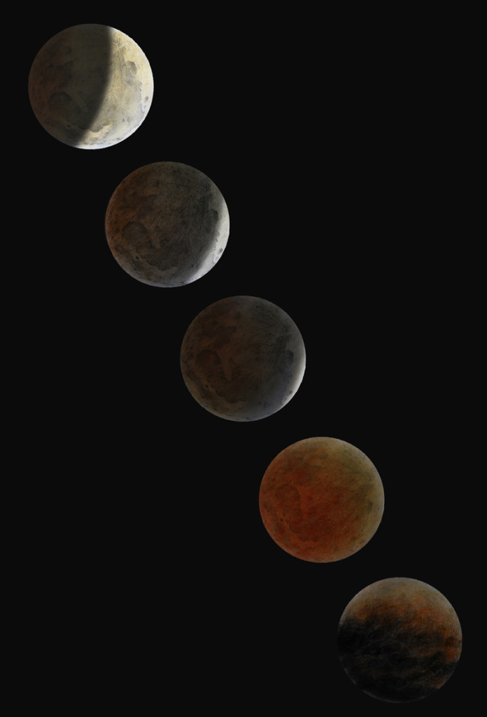 Lunar Eclipse sketch sequence - April 15, 2014