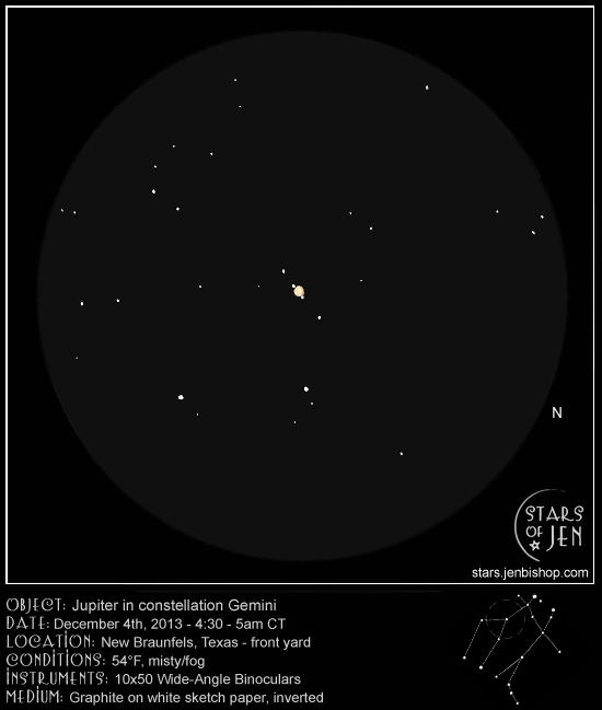 Jupiter in the constellation Gemini - December 4, 2013