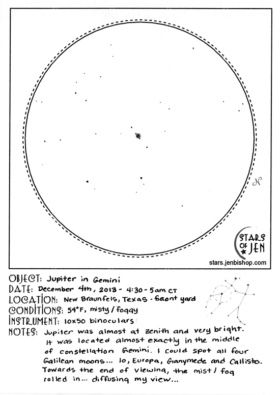 Jupiter in the constellation Gemini - December 4, 2013 original sketch