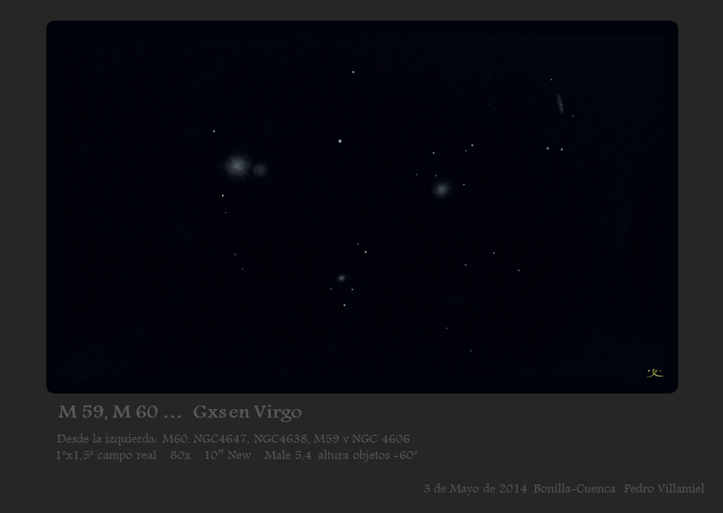Galaxies from left to right M 60, NGC 4647, NGC 4638, M 59 and NGC 4606
