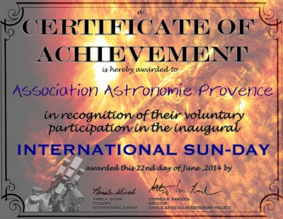 Certificate of Acheivement for the First International Sun-Day June 22, 2014