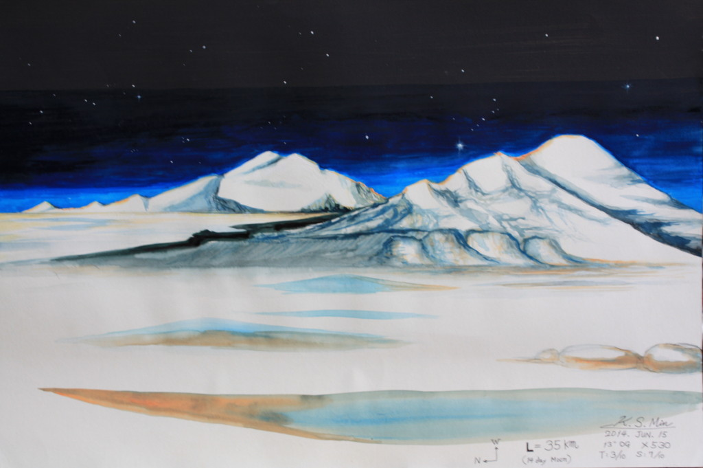 Mountains on the lunar horizon near Mare Orientale, water color painting- June 20, 2014