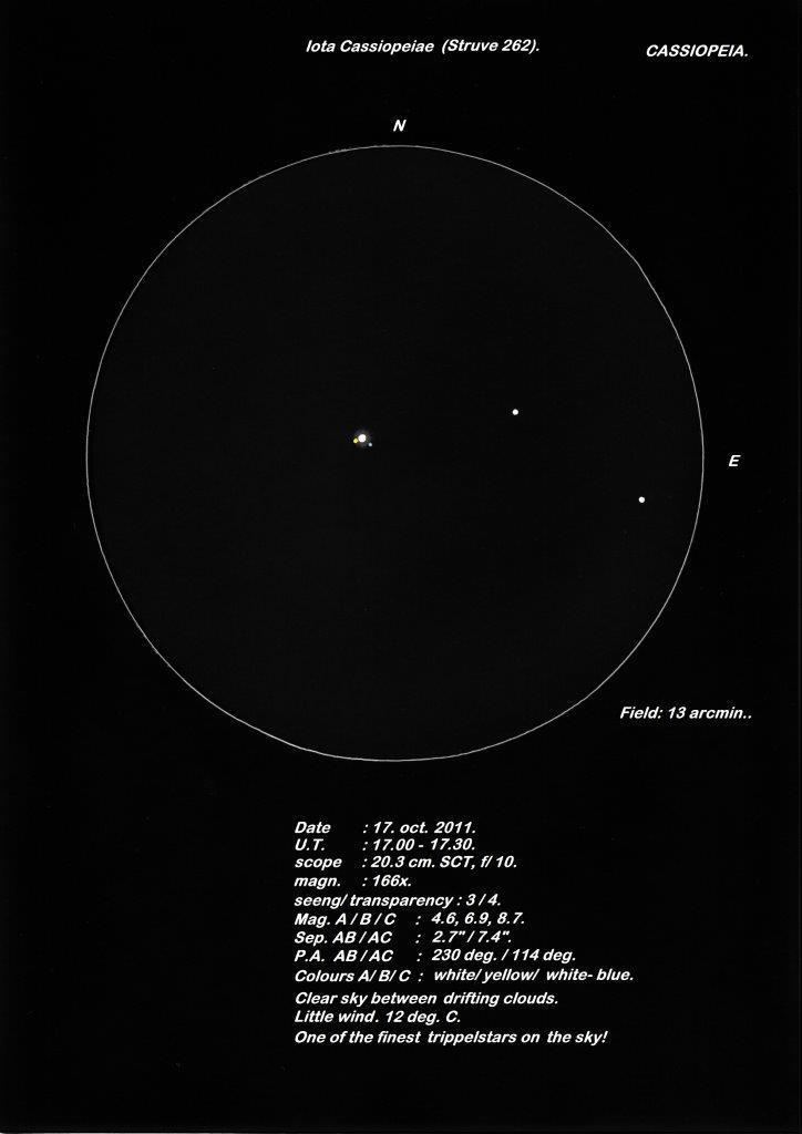 Iota Cassiopeiae (Struve 262) - a triple star system