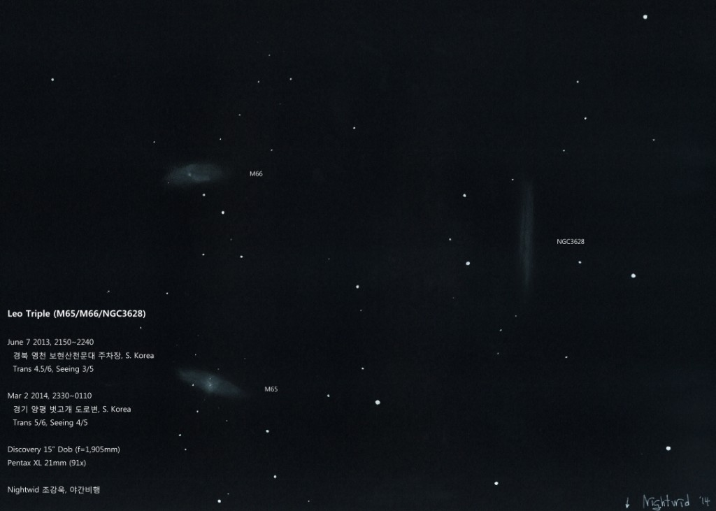 "Spring's Trio, ""The Leo Triplet"", galaxies M65, M66 and NGC 3628"