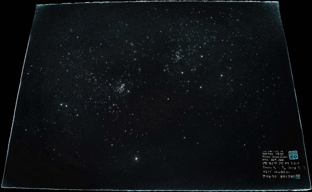 The Perseus Double Cluster, NGC 869 and NGC 884 - three month sketch