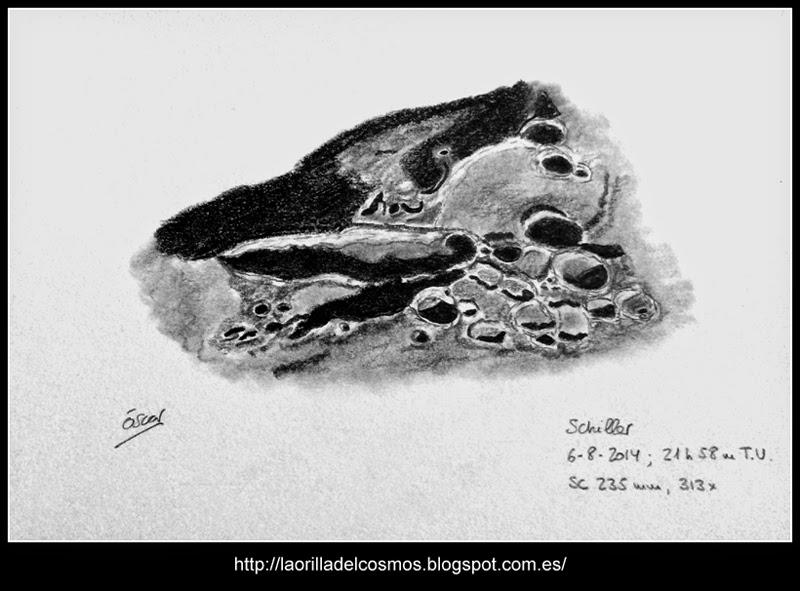 Lunar crater Schiller and environs - August 6, 2014
