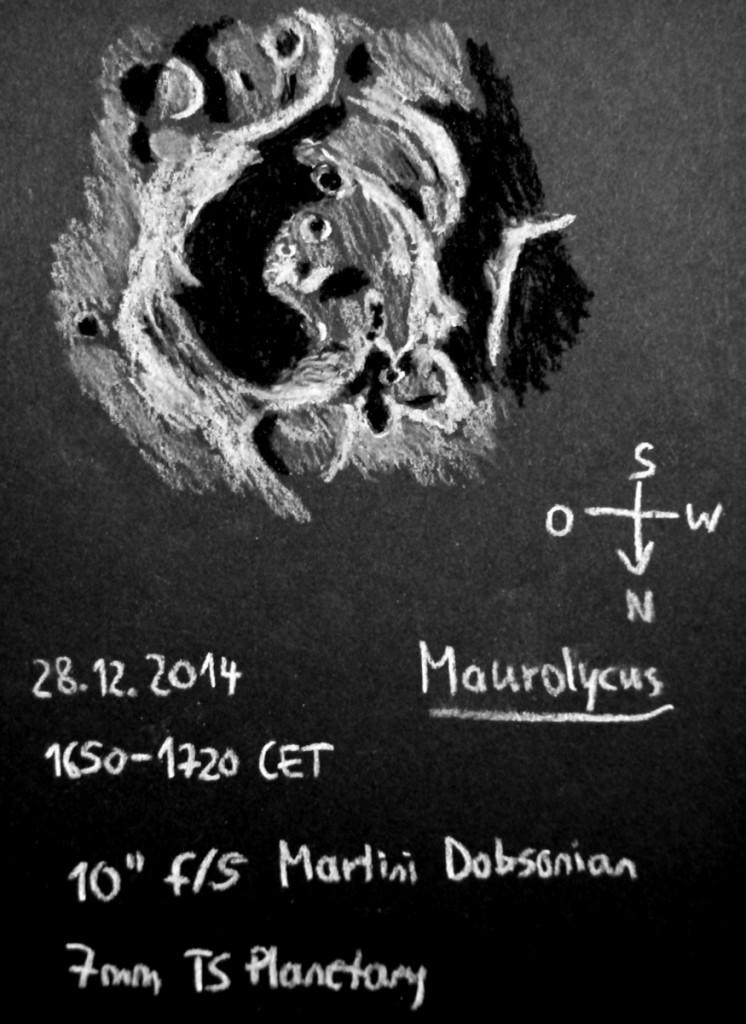 Lunar crater Maurolycus and environs - December 28, 2014