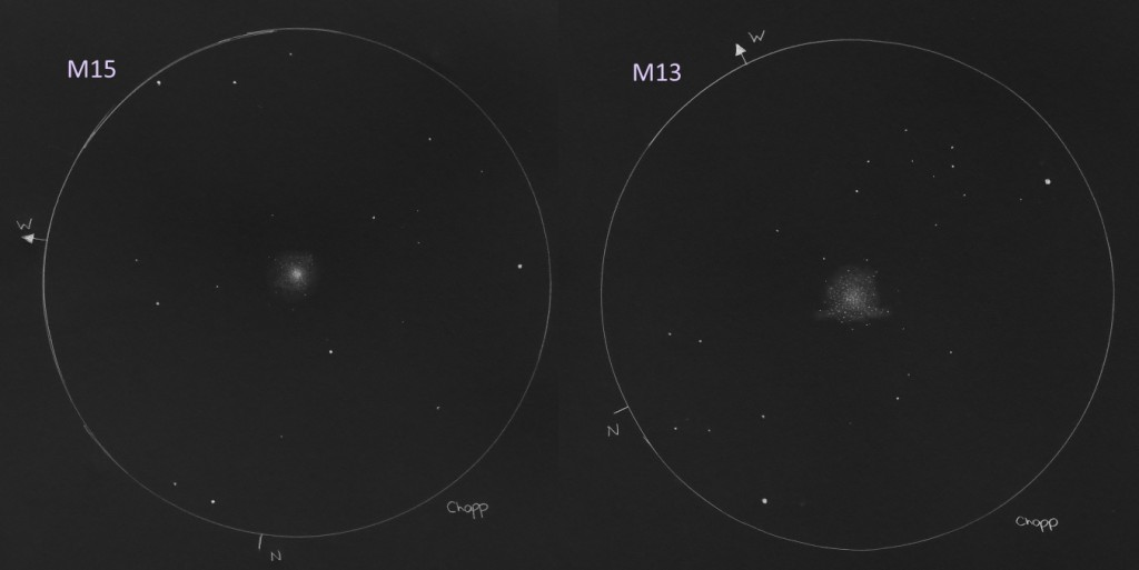 A comparison between two globular clusters, M15 in Pegasus and M13 in Hercules - September 24, 2014 and September 27, 2014
