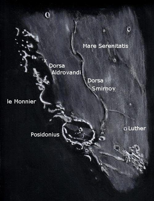 Lunar crater Posidonius and environs at sunset - August 7, 2012