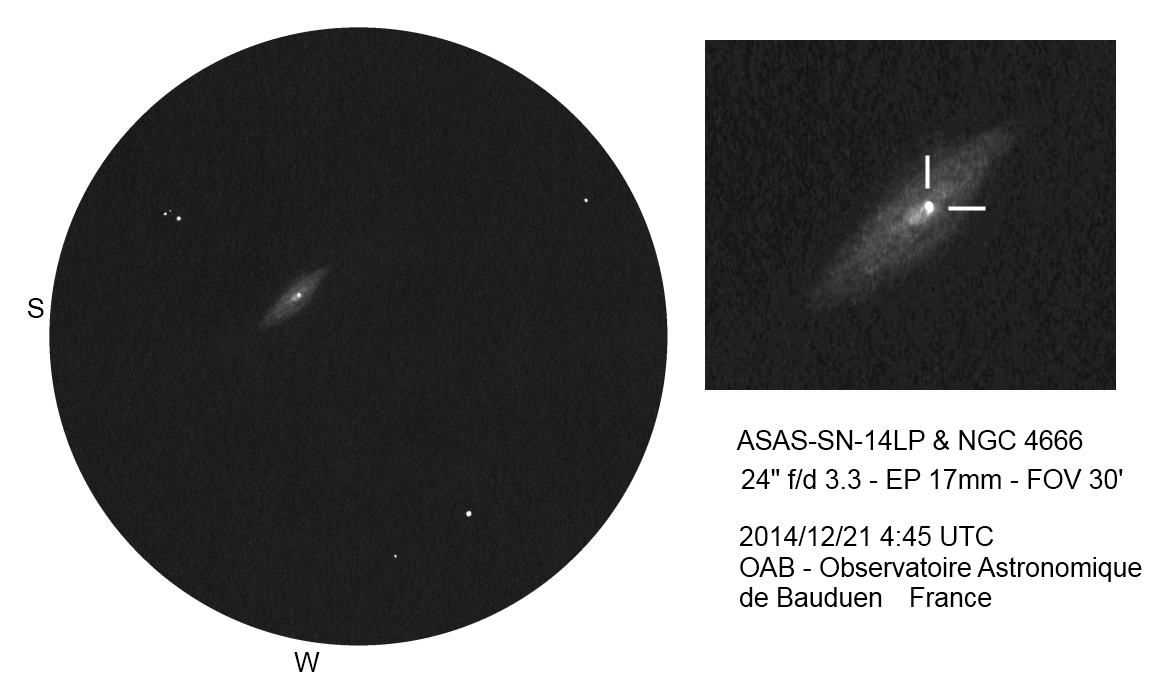 NGC 4666 and ASASSN-14LP, a galaxy harboring a supernova - December 21, 2014