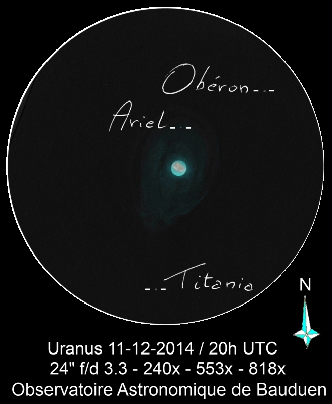 Uranus and it's moons, Oberon, Ariel, and Titania - December 11, 2014
